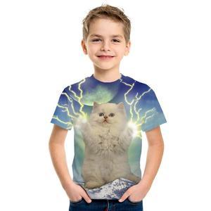 Image 4 - 3D impression mignon mode haut pour enfants à manches courtes T Shirt mignon dessin animé Panda homme/fille porter rue marée Style Top T Shirt dessin animé chat