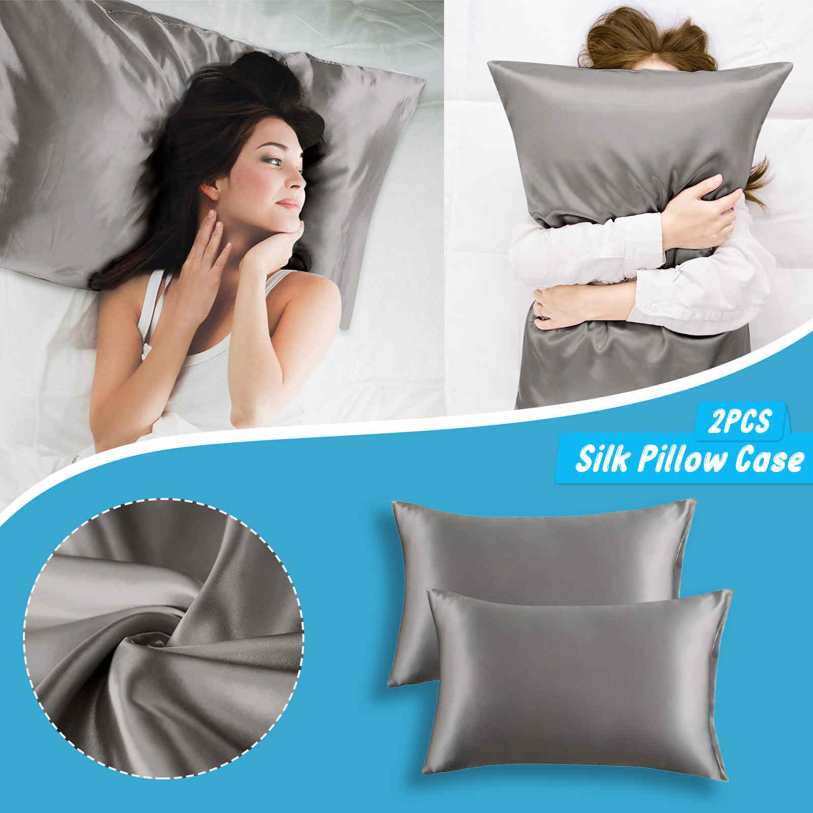 2pcs standard size 20x26 inches satin pillow covers with envelope closure silk satin pillowcases home decoration cushion cover