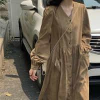 Femmes automne longue chemise Robe col en V velours côtelé Vestidos grande poche à manches longues Robe Femme Vintage Jurken Sukienki grande taille