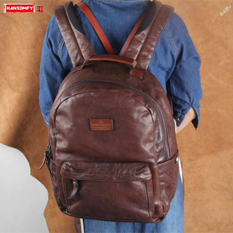 Retro style full suede leather men's backpack handmade genuine leather male mountaineering bag Large capacity travel backpacks