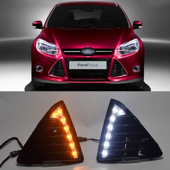 Car LED DRL Polished Daytime Running Lights Kit with Turn signal function for Focus 2012 2013 Replace original fog lamp covers
