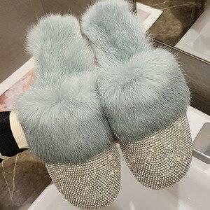 New Women Winter Fur Plush Shoes Woman Fasnion Rhinestone Furry Slippers Ladies Suede Flat Soft Women's Casual Elegant Slippers