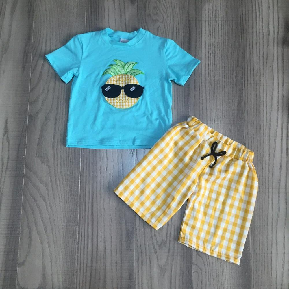 Baby Boy Summer Outfit Boys Cool Clothes Kids Pineapple Man Shirt With Yellow Plaid Shorts Children Fruit Clothing