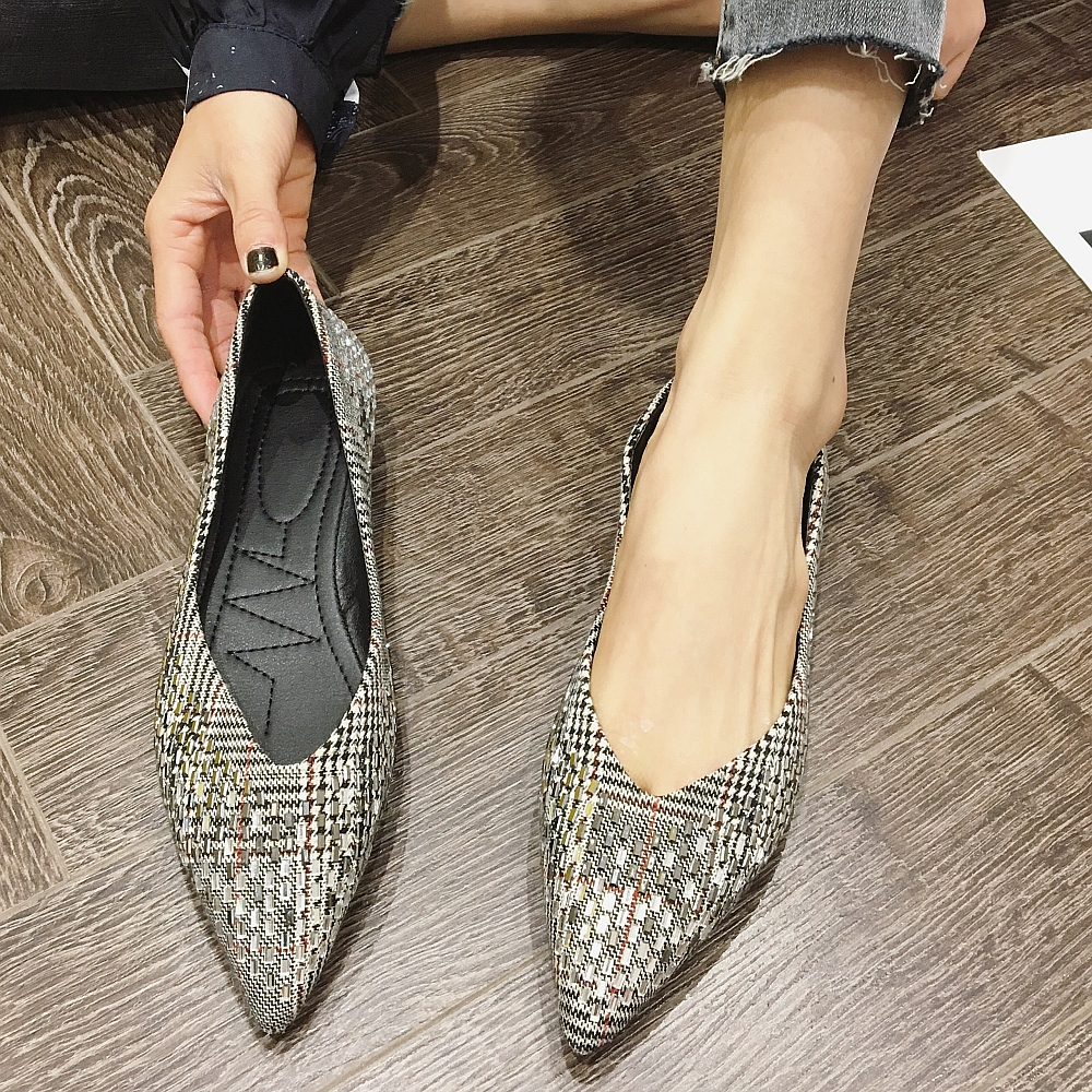 2020 Brand Women Ballet Flats Striped Slip-On Pointed Top Spring Women Shoes Office Ladies Work Single Shoes Females Footwear