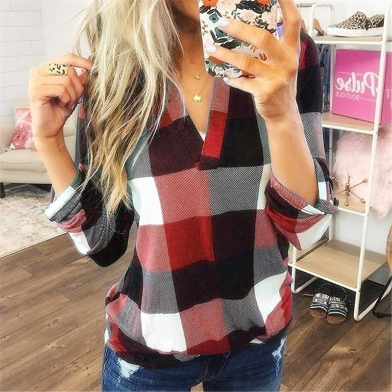 2020 Plus Size V-neck Plaid Printed Blouse Shirt Women Autumn Long Sleeve Loose Tops Elegant Ladies Office Blouses S-5xl