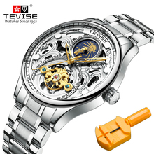 TEVISE Royal Skeleton Mens Mechanical Wristwatch Luxury Full Stainless Steel Moon Phase Automatic Watch Steampunk Male Clock new luxury fashion mens automatic mechanical watches carnival men moon phase clock male stainless steel gold watch montres homme