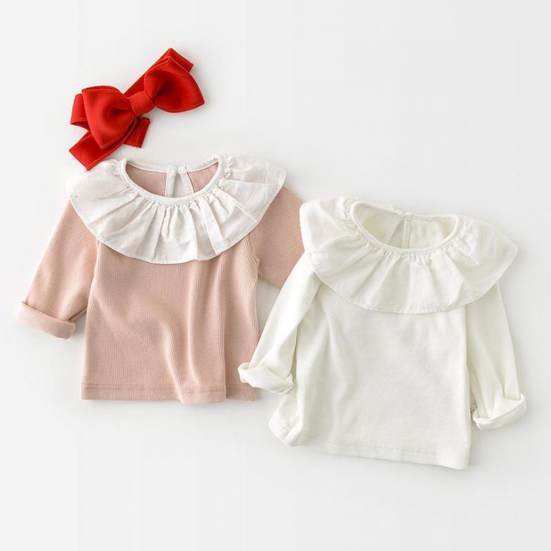Girls Blouses Cotton Shirts Kids Long Sleeve Tops Ruffle Collar Spring Autumn Children Clothes Baby Girls Blouse Tee