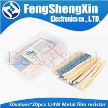 30values x20pcs=600pcs 1/4W (0.25W) 1% Metal Film Resistor Assortment Kit Set pack electronic diy kit  (10R~1M) free shipping