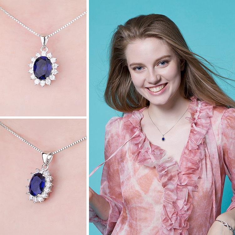H5245ca2b481d40d3a15b9e80f82318ddk JewelryPalace Created Sapphire Pendant Necklace 925 Sterling Silver Gemstones Choker Statement Necklace Women Without Chain