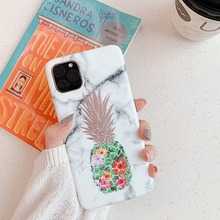 Fashion Marble Phone Case for IPhone 11 Pro Cover Pineapple Patterned Back 11Pro Max Coque 10 XR XS