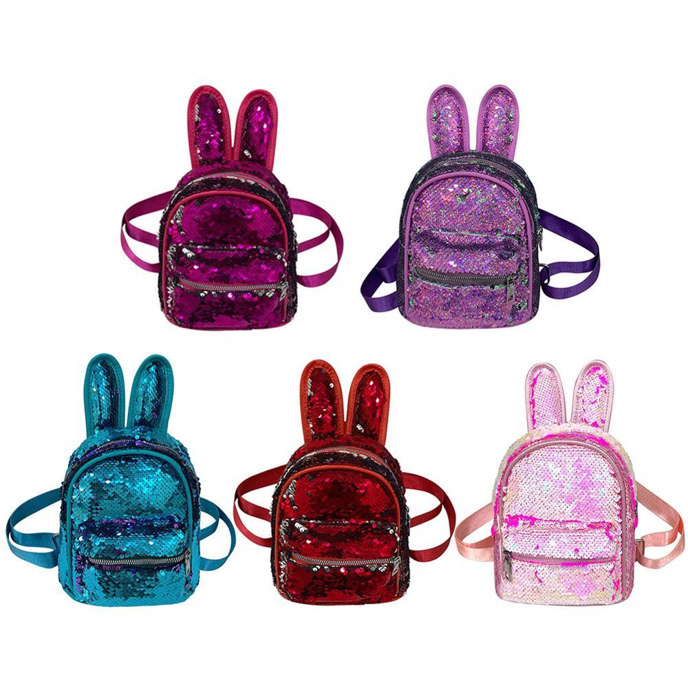 Children Sequin Faux Fur Mini Rabbit Ears Backpacks Girls Glitter PU Leather Kids School Kindergarten Shoulder Bags Handbag