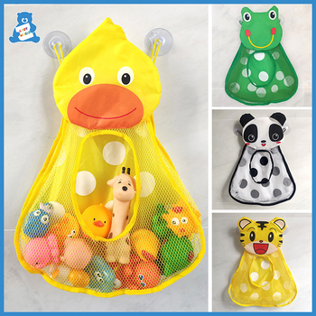 Baby Bath Toys Cute Duck Frog Mesh Net Toy Storage Bag Strong Suction Cups Bath Game Bag Bathroom Organizer Water Toys for Kids kids baby bath tub toy tidy storage suction cup bag mesh bathroom organiser net