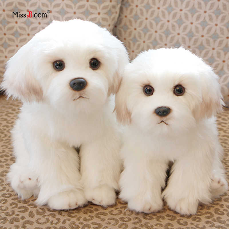 Bichon Frise Puppy Stuffed Animal Dog Plush Toy Cute Simulation Pets Fluffy Baby Dolls Birthday Gifts For Children Dropshipping Aliexpress