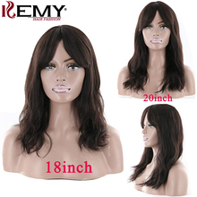Natural Wave Human Hair Wigs With Bangs For Black Women KEMY Middle Par