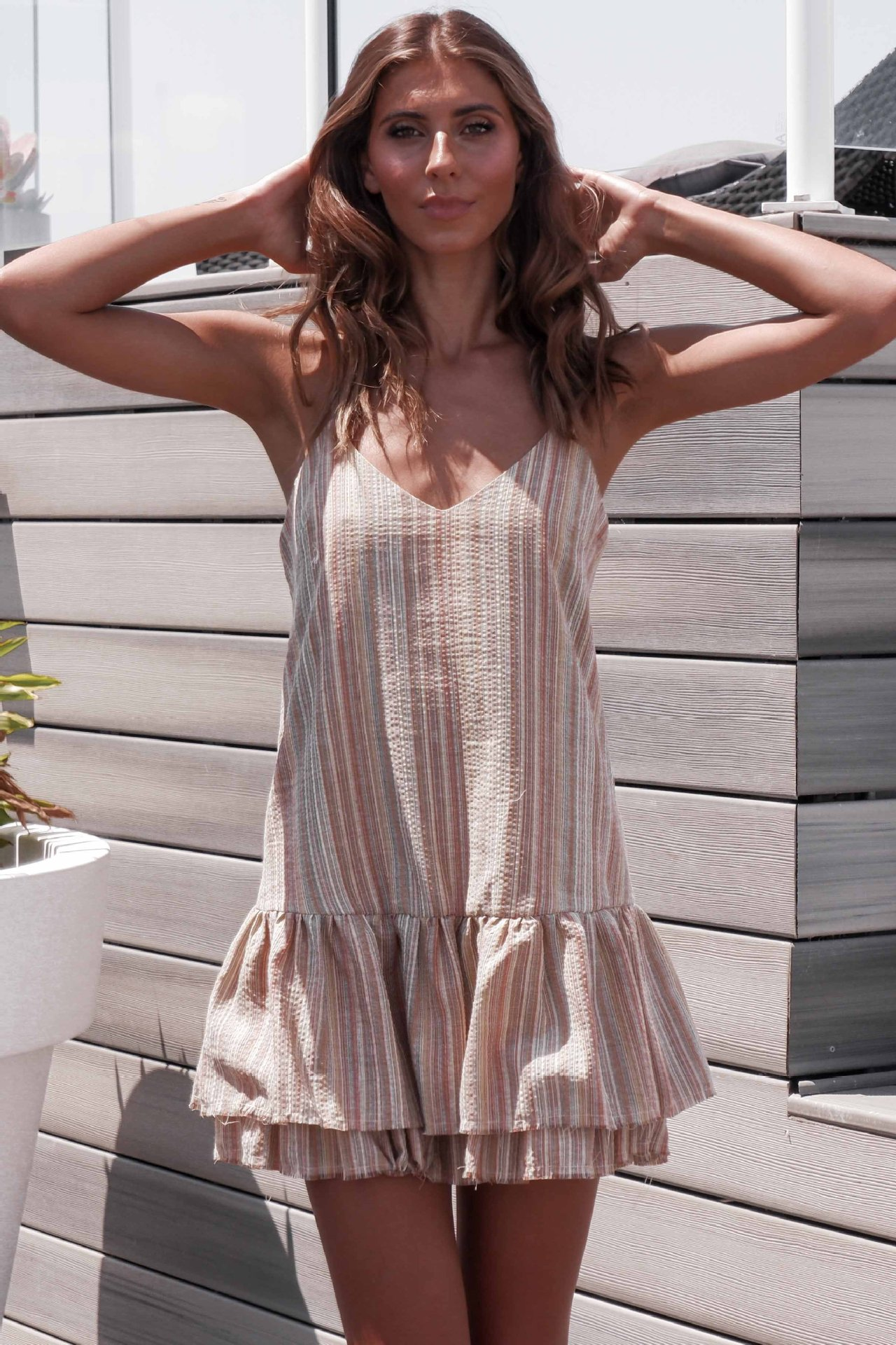 Fashion V-neck Dress Summer Striped Ruffle Women Sling Female