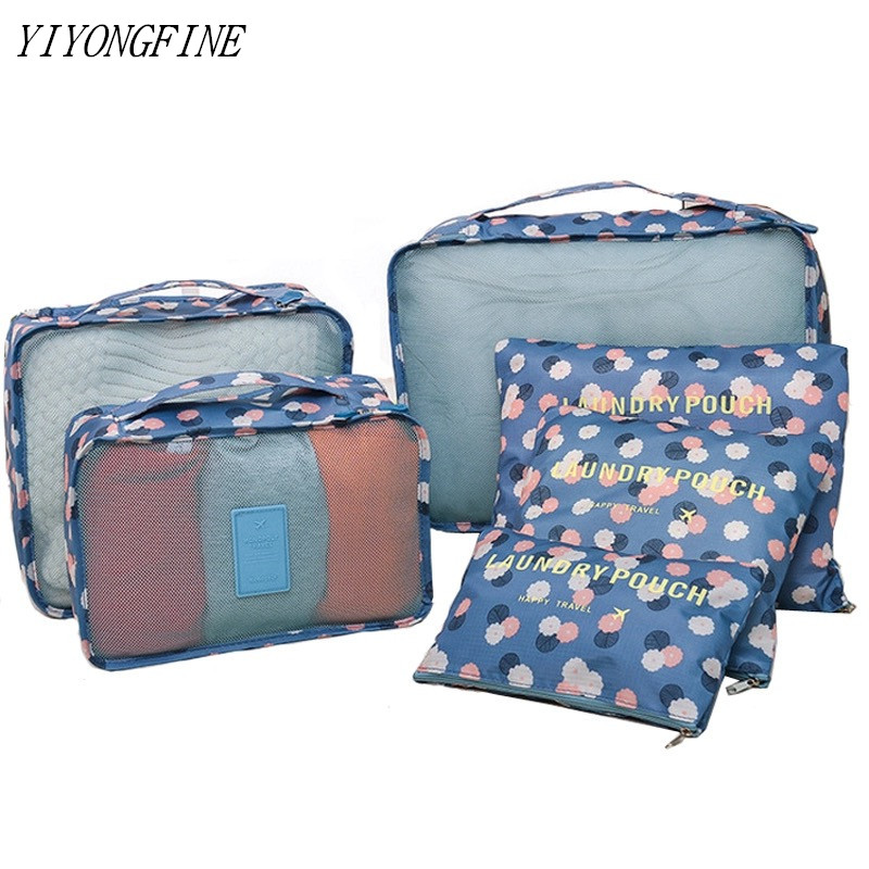 Multifunction Travel Accessories 6 Pcs/Set Women Packing Cubes Man Organizer Bags Luggage Bag Clothes Storage Waterproof Bags