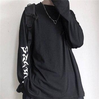 Harajuku Tshirt Streetwear Hip Hop T-shirts Men Women Casual Korean T Shirt Long Sleeve Loose Tshirt Streetwear Autumn Tops Male
