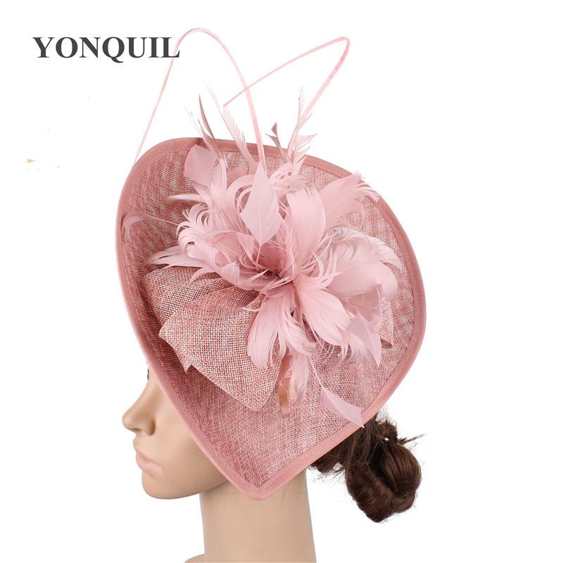 Hot Pink Bridal Wedding Hat Headwear Banquet Fascinators Hat Bride Marriage Feather Flower Wedding Headwear Hoops Women Chapeau