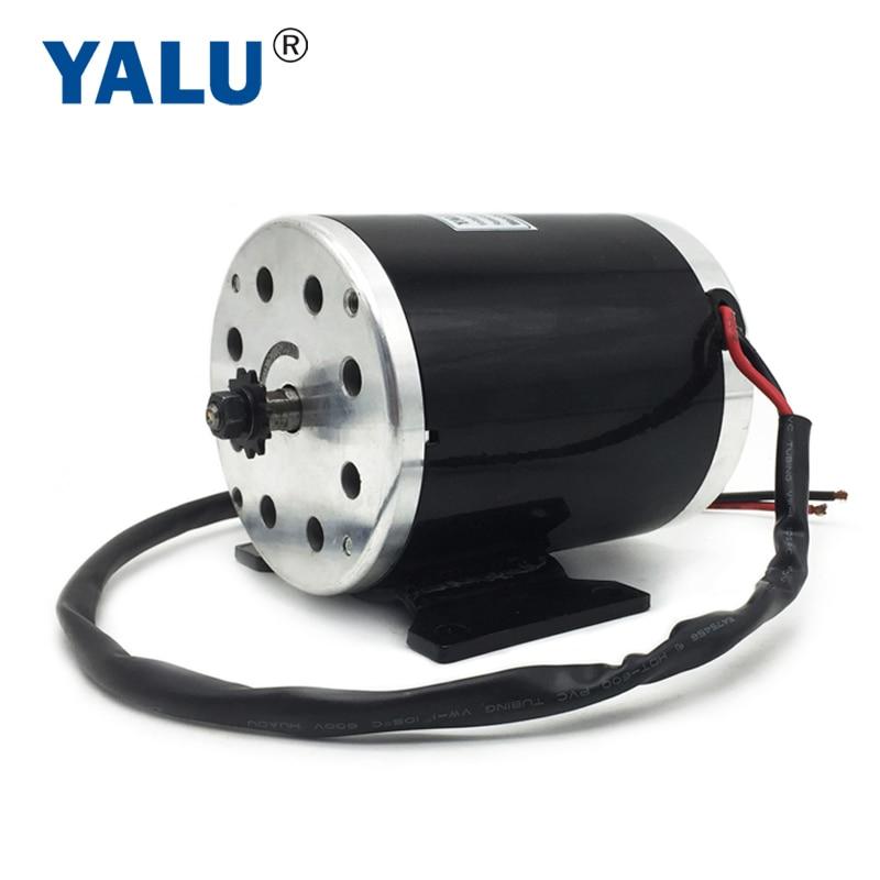 YALU Small MY1020 750W 36V / 48V 3000 RPM Přímý motor vysoce výkonný skútr Elektrický Bike kartáčovaný stejnosměrný motor s montážní konzolou
