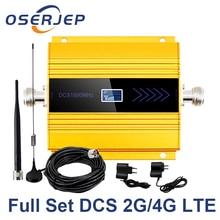 OSERJEP 4 4G LTE モバイル信号リピータ 1800Mhz 携帯 GSM 1800 携帯電話の液晶ディスプレイ + 吸盤アンテナ