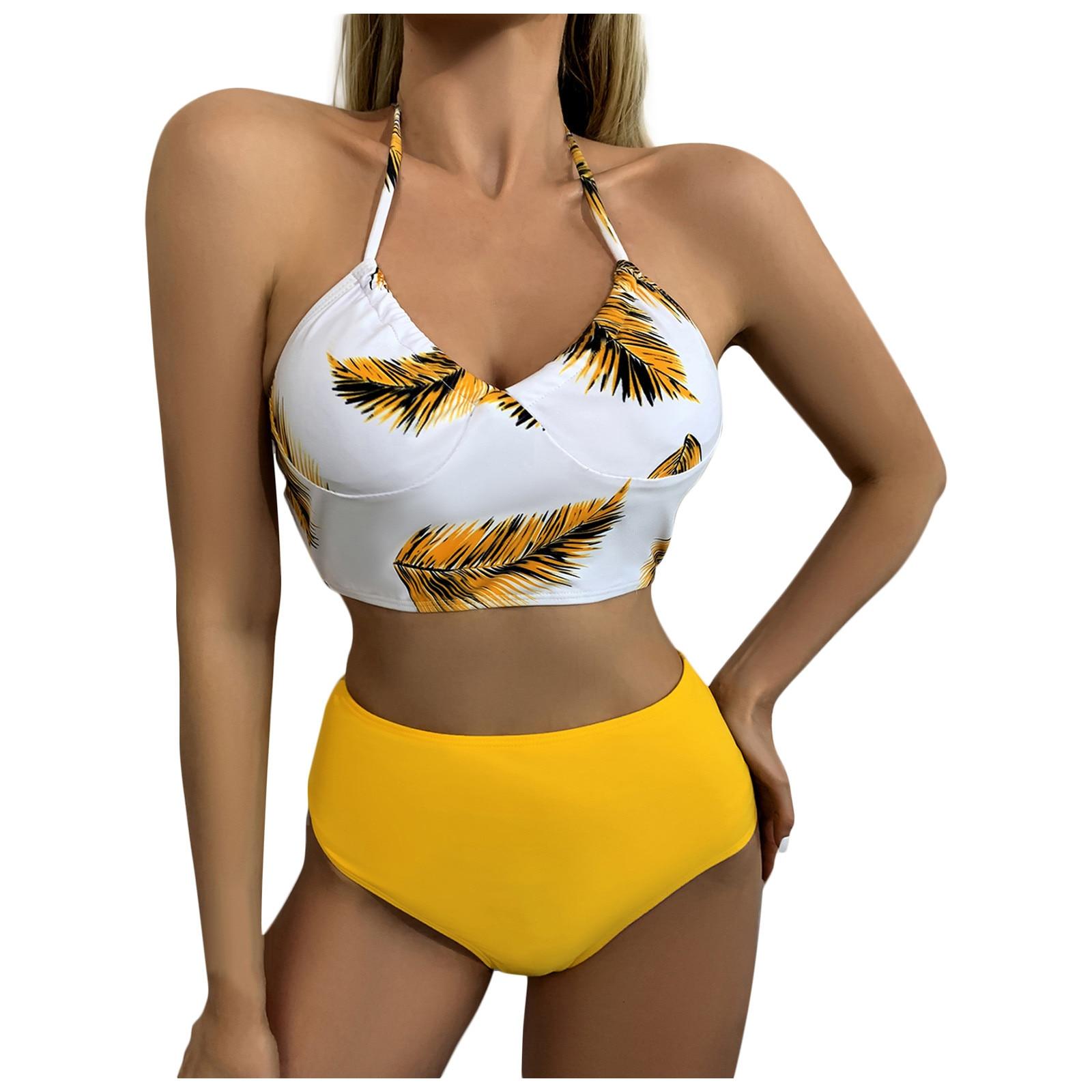 Zwei Stück Bikini Gepolsterte Split Badeanzug Sexy Push-up Straping Druck Nähen Hoher Taille Schwimmen Anzug Für Frauen Biquini