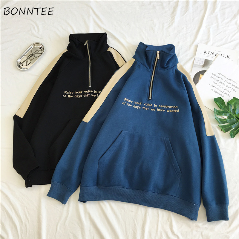 Hoodies Women Simple New Zipper Korean Style Harajuku Loose Plus Velvet Womens Warm Patchwork Turtleneck Casual Clothes Students