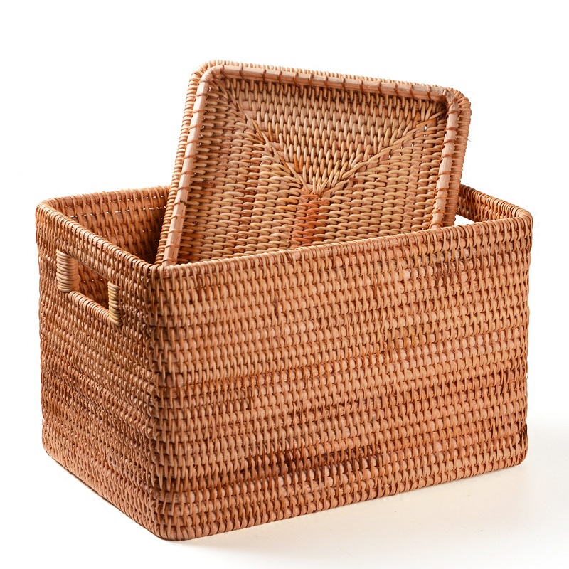 Laundry Basket Rattan Woven Storage Basket Handmade Brown Large Capacity Portable Clothing Storage Box Indoor Household Items