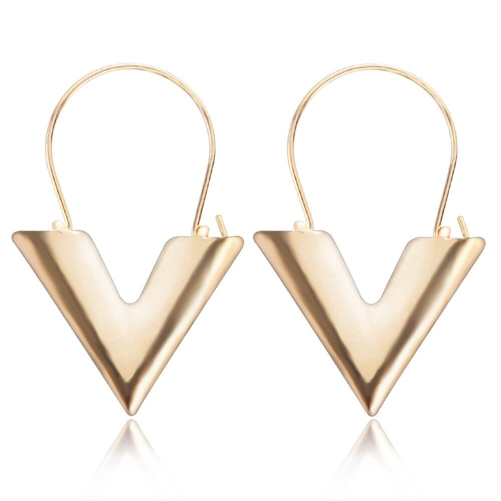 Women's earrings Europe New hot zinc alloy letter V-shaped shape pendant earrings gold silver color ladies fashion jewelry 2