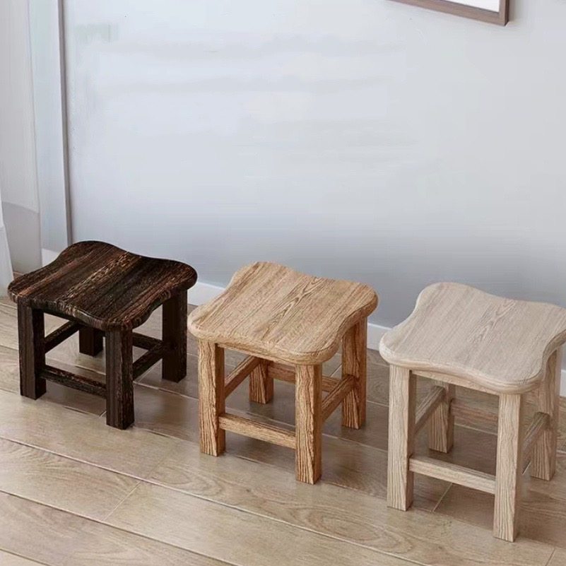 Children's Chair Small Wooden Stool  Madera Family Living Room Tea Table  Low Square Creative