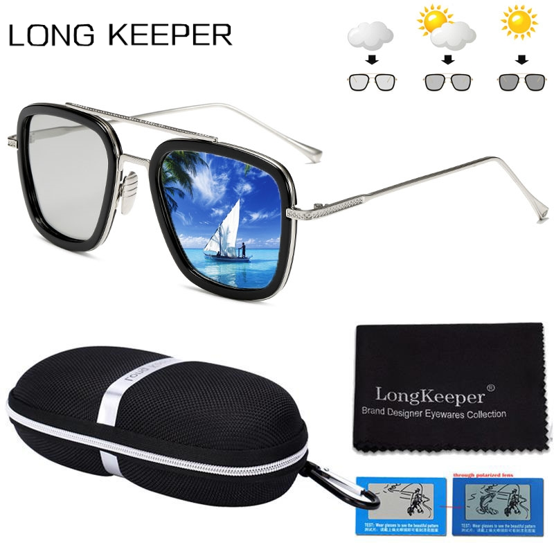 Polarized Photochromic Sun Glassses Men Tony Stark Iron Man Square Sunglasses Male Woman Brand Design Chameleon Pilot Goggles