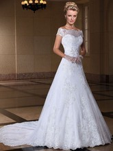 Новый Элегантный линии кружева съемный поезд с плеча свадебное платье