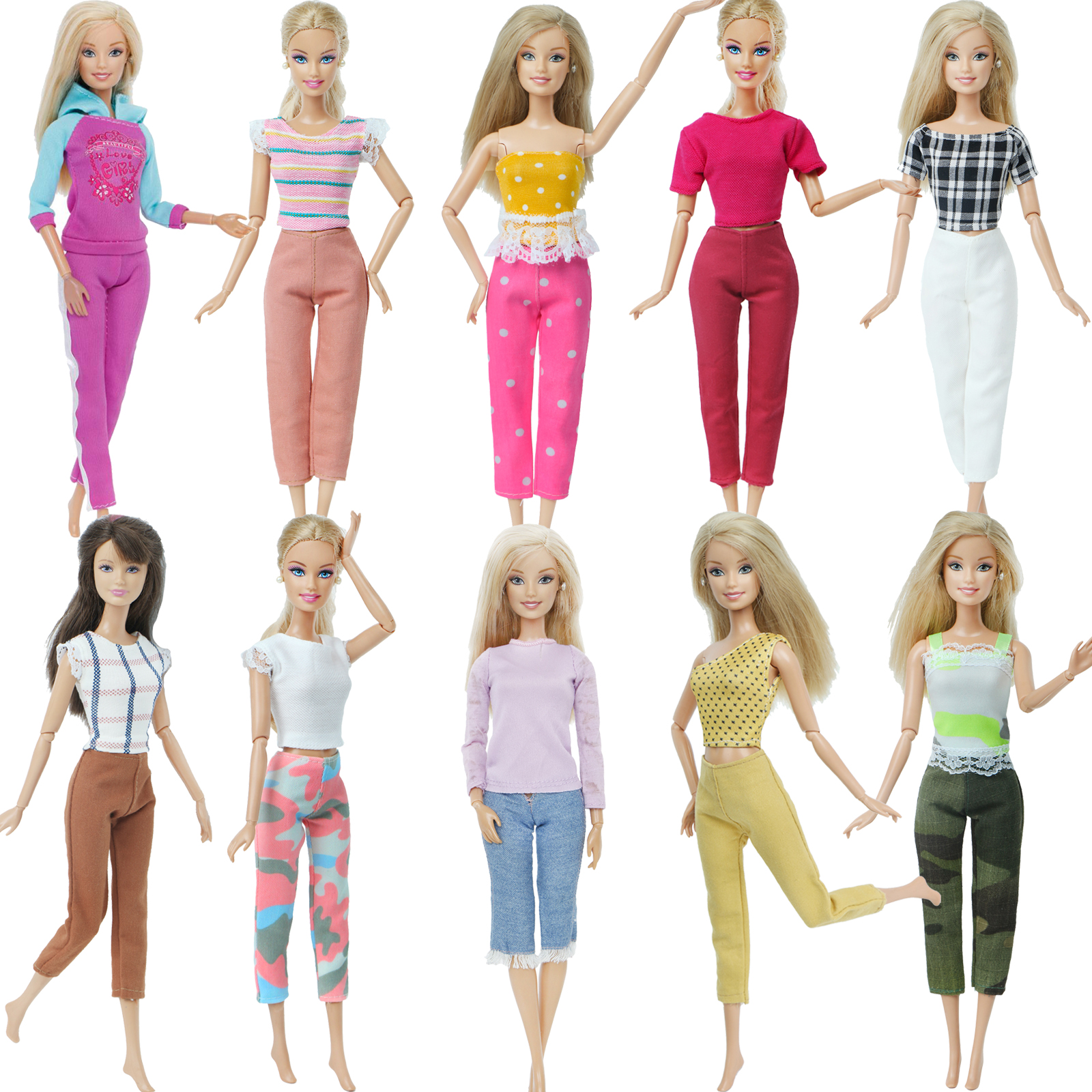 Handmade Princess Doll Outfit Daily Casual Dress T-shirt Pants Trousers Clothes For Barbie Doll Accessories Play House Kids Toy
