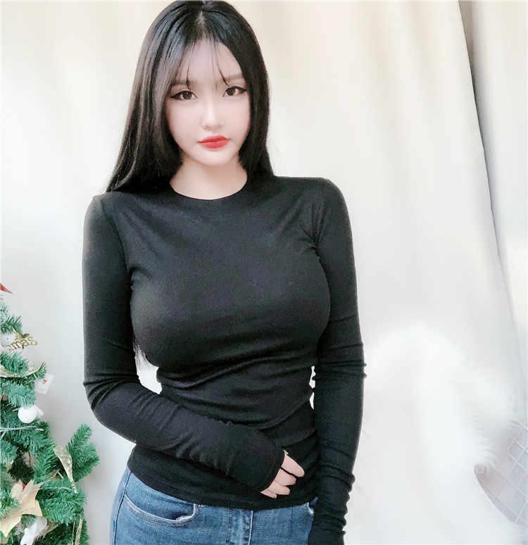 새로운 봄 레이디 블랙 솔리드 레드 화이트 섹시 슬림 맞는 티 여성 Highstreet 캐주얼 긴 소매 Tshirt 탑 여성 여자 티셔츠