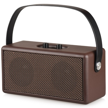 Hot D30 Retro Wood Double Speaker Bluetooth Speaker Home Computer Mobile Phone Outdoor Portable Leather Audio