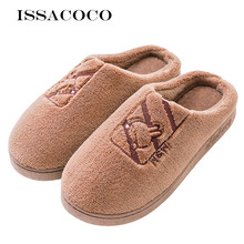 ISSACOCO Men Shoes Winter Warm Home Slippers Couple Plush Indoor Soft Pantuflas Zapatillas