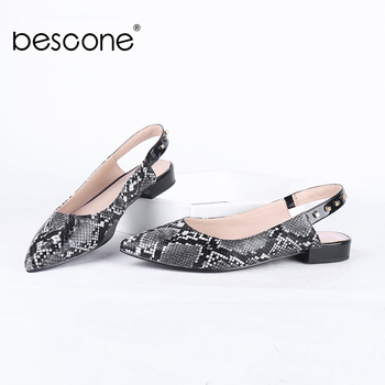 BESCONE Slingbacks Pumps Women Serpentine Microfiber Pointed Toe Elegant Low Heels Concise Pumps Office Casual Shoes Women BC723