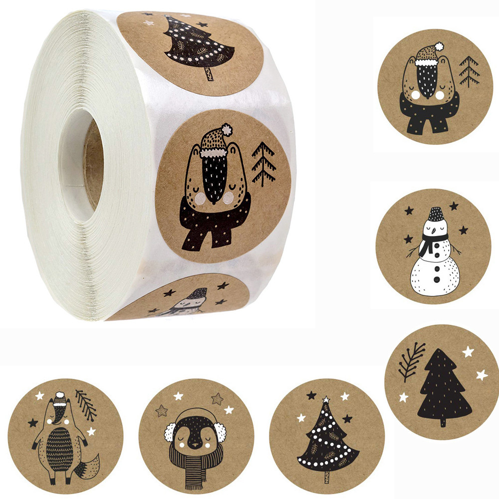 500Rcs/Roll Happy Christmas Day Animal Stickers Snowflake Thank You Label Gift Decoration Family Sti
