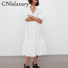 Mulheres do vintage branco bordado oco para fora vestido de verão manga curta solta v neck festa midi vestidos mujer robe femme