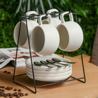 Simple European Ceramic Coffee Cup with Dish Spoon Set with Cup Holder Home Office Coffee Mug Water Cup