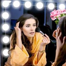LED Hollywood maquillaje tocador USB espejo luces 10 bombillas Kit para tocador Vintage maquillaje espejos bombilla blanca/ rosa