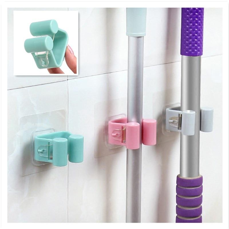 1Pcs Wall Mounted Mop Strong Home Bathroom Hooks Holder Brush Broom Hanger Storage Rack Bathroom Holder Shower Hooks 7 X 7 Cm