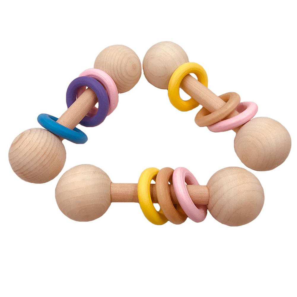 Baby Teether Toys Wooden Hand Shaking Rattle Rings Bell Teether Baby Chew Teething Shower Toy
