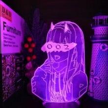 Querida no franxx zero dois 002 3d led ilusão noite luzes anime lâmpada de iluminação led para o presente natal