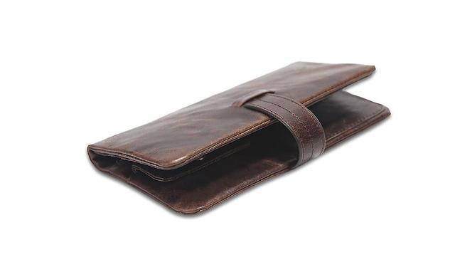 100% Genuine Cowhide Leather Portomonee Vintage Walet Male Wallet Men Long Clutch with Coin Purse Pocket Rfid