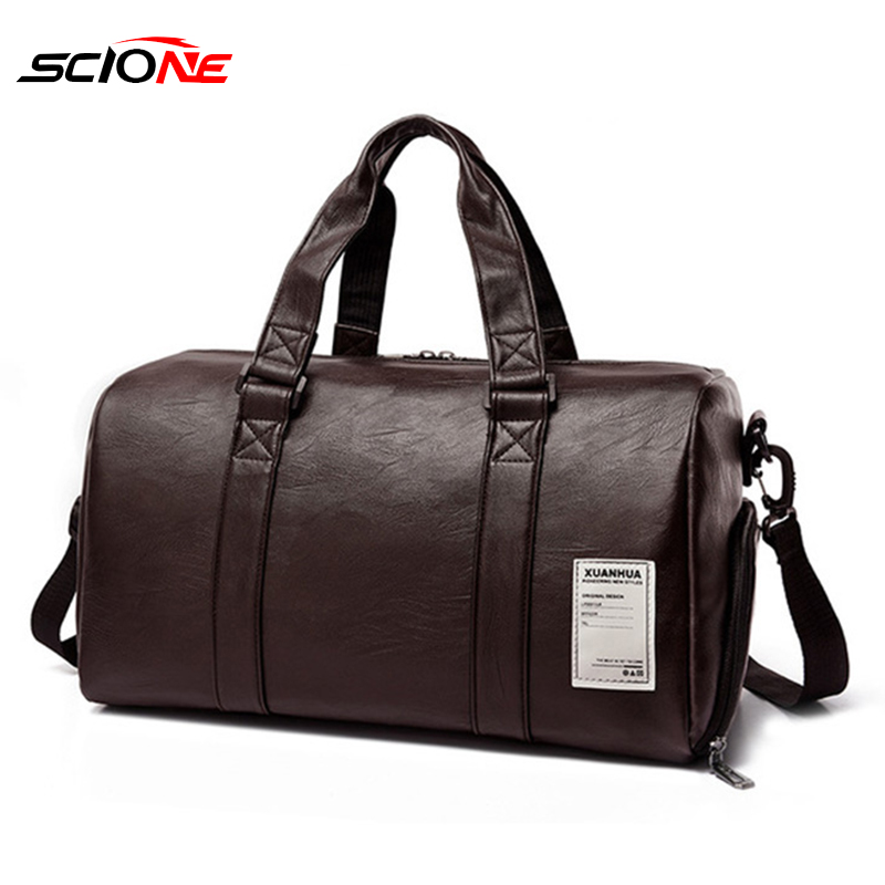 Gym Bag Leather Sports Bags Big Big Men Training Tas For Shoes Lady Fitness Yoga Travel Luggage Shoulder Sac De Sport XA156G
