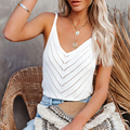 V-Neck Halter Sexy Hollow Out Knitted Camisole 2021 Summer Women Clothing Off-Shoulder Solid Color Sleeveless Camis Tanks Tops