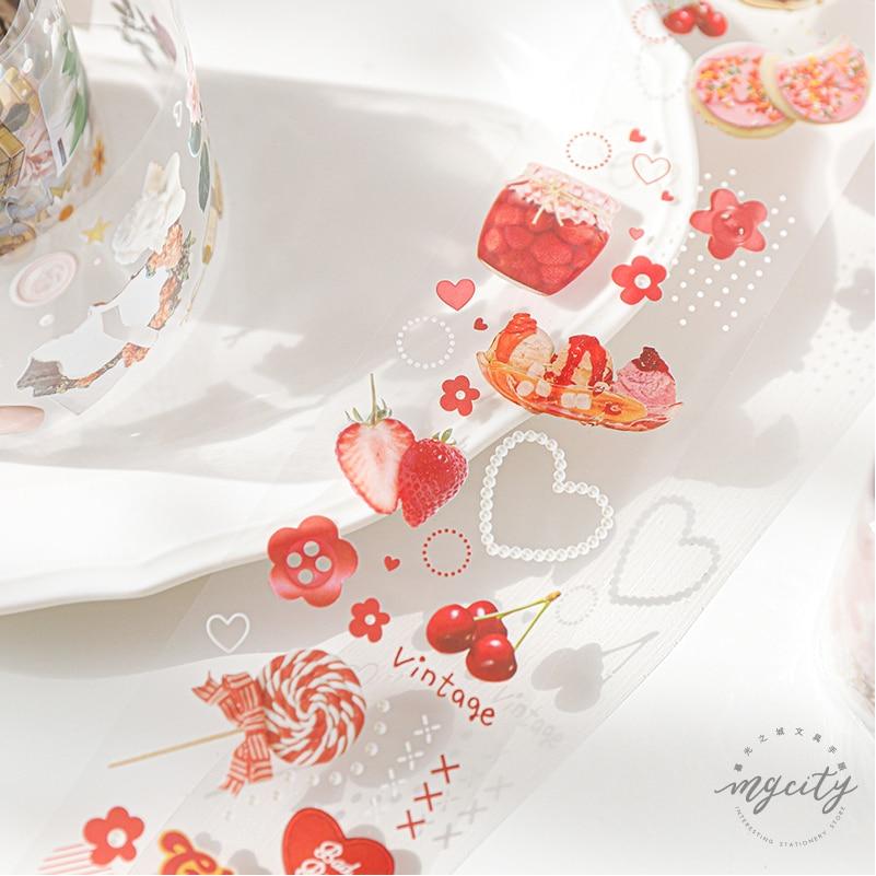 JIANWU 60mmX3m Treasure Chest Series Creative Fresh Paper Tape DIY Diary Decorate Sticker Kawaii PET Bullet Journal Supplies