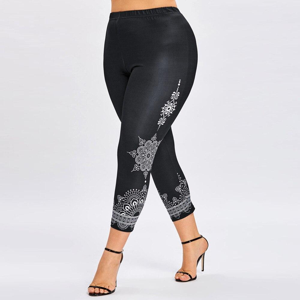 Fashion Womens Plus Size Printed Leggings Trousers Sport Casual Pants Fitness Legging Workout Leggings Large Size Leggins Mujer