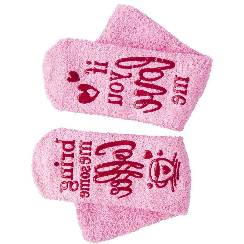 Women Novelty Pink Fuzzy Socks Funny Words Wine Coffee Chocolate Warm Hosiery