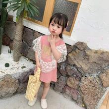 Spring / Summer Cotton Knit Round Neck Lace Flying Sleeve Letter Print Girl Dress Kid Clothes round neck lace panel shift dress